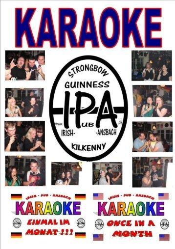 KARAOKE SONGS - Irish Pub Ansbach
