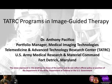 TATRC Programs in Image-Guided Therapy - National Center for ...