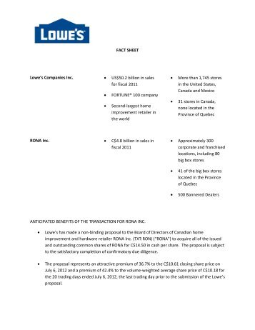 FACT SHEET Lowe's Companies Inc. • US$50.2 billion in sales for ...