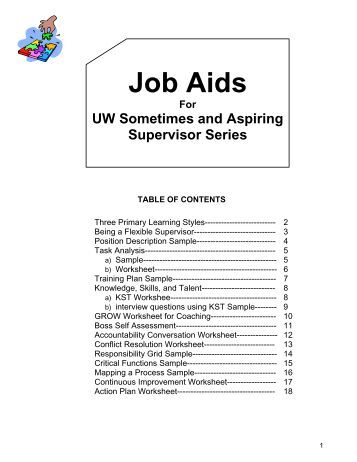 job aids template - job aids and templates office of human resource development