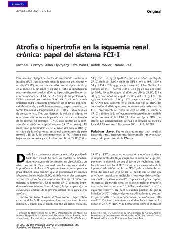 Atrofia o hipertrofia en la isquemia renal crónica - El Médico Interactivo
