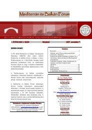 Mediterrán és Balkán Fórum - 3. szám - PTE Egyetemi Könyvtár