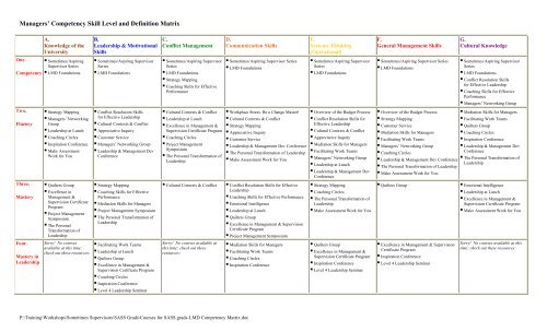 Managers' Competency Skill Level and Definition Matrix