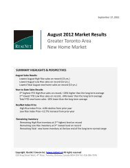 August 2012 Market Results Greater Toronto Area New Home Market