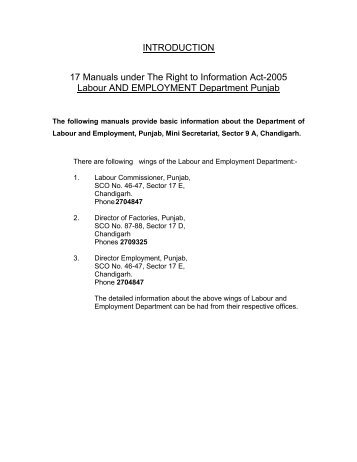 INTRODUCTION 17 Manuals under The Right to Information Act ...
