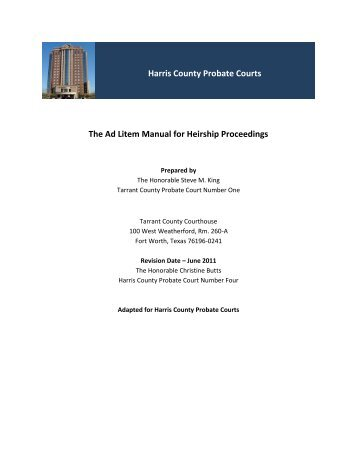 Harris County Probate Courts The Ad Litem Manual for Heirship ...