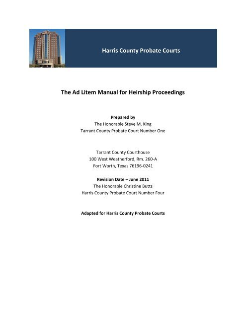 Harris County Probate Courts The Ad Litem Manual For Heirship
