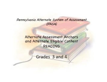 Grades 3 - 4 Reading Assessment Anchors - SAS