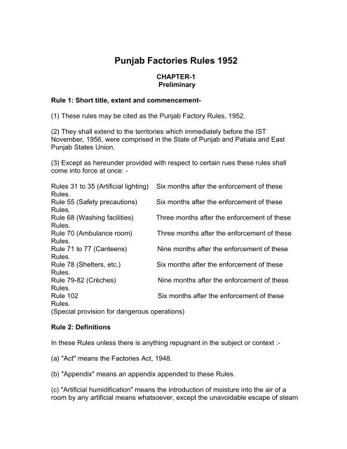 Punjab Factories Rules 1952 - Department of Labour, Government