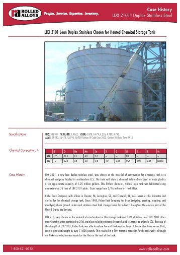 LDX 2101 Heated Storage Tanks - Rolled Alloys