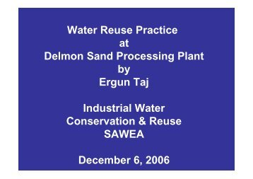 Water Reuse Practice at Delmon Sand Processing Plant by Ergun ...