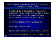 TOTAL WATER MANAGEMENT FOR INDUSTRIAL WATER ...