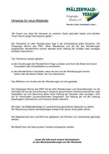 Informationen für neue Mitglieder und Gäste - Pfälzerwald-Verein ...