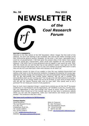 NEWSLETTER of the Coal Research Forum