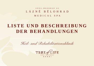 LISTE UND BESCHREIBUNG DER BEHANDLUNGEN - Tree Of Life