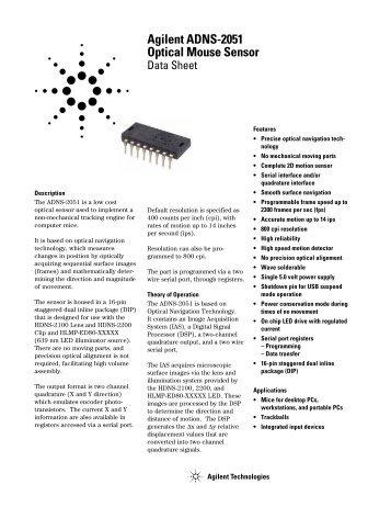 Agilent ADNS-2051 Optical Mouse Sensor