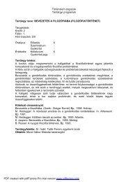 Történelem alapszak Tantárgyi programok Tantárgy ... - NymE - SEK