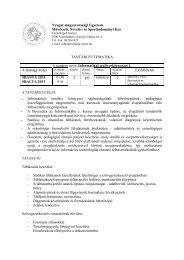 TANTÁRGYI TEMATIKA-informatikai szoftverkörnyzet1 - NymE - SEK