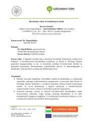 Sporttudományi Műhelykurzus 2013 tavasz - NymE - SEK