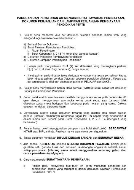 Panduan Pengisian Dokumen Perjanjian Ptptn