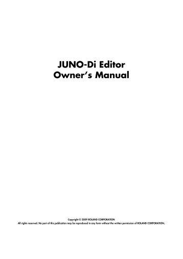 JUNO-Di Editor Owner's Manual - Roland Corporation US