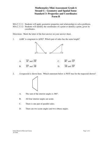 Mathematics Mini-Assessment Grade 6 Strand C: Geometry and ...