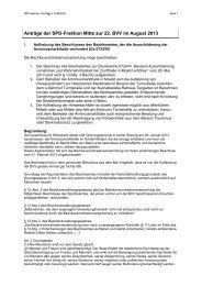 Anträge der SPD-Fraktion Berlin-Mitte vom 12. August 2013