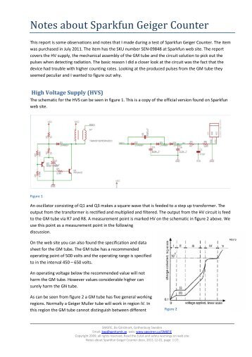 Notes about Sparkfun Geiger Counter - Spectron.us