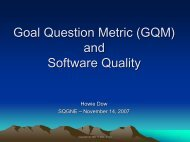 Goal Question Metric (GQM) and Software Quality - sqgne