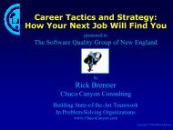Career Tactics and Strategy - Software Quality Group of New England