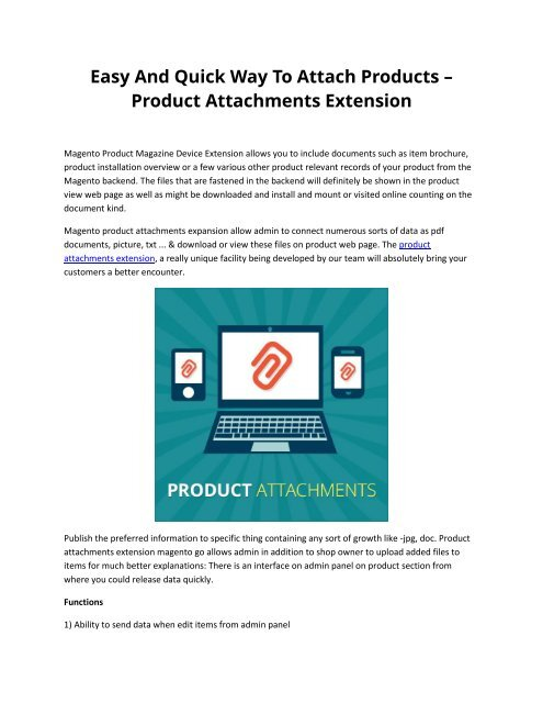 Easy And Quick Way To Attach Products – Product Attachments