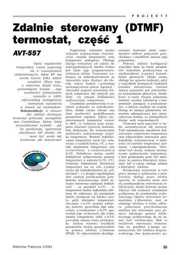 Zdalnie sterowany (DTMF) termostat, część 1 - AVT-557