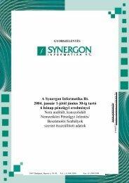 A Synergon Informatika Rt. 2004. január 1-jétől június 30-ig tartó 6 ...