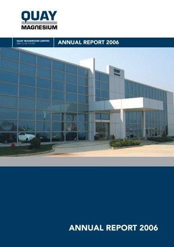 ANNUAL REPORT 2006 - Quay Magnesium