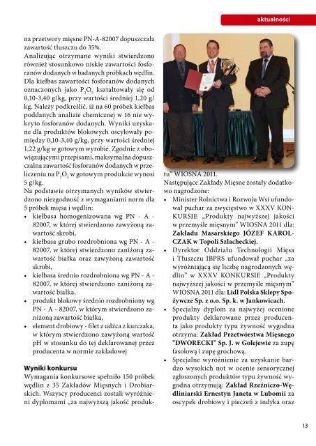 """""""Produkty najwyższej jakości w przemyśle mięsnym"""" WIOSNA 2011"""