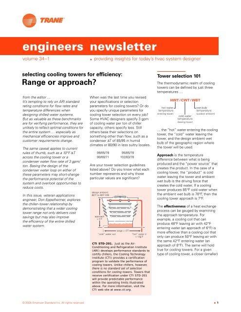 ADM-APN014-EN (01/05): Selecting Cooling Towers for     - Trane