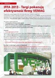 IFFA 2013 - Targi pokazują efektywność firmy VEMAG