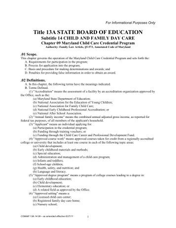 Title 13A STATE BOARD OF EDUCATION Subtitle 14 CHILD AND ...