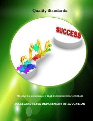 Quality Standards for Charter Schools - Maryland State Department ...