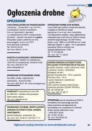 Ogłoszenia drobne - Informator Drobiarski, Informator Masarski ...