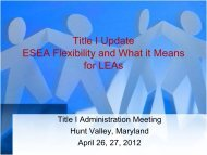 Title I Update - Maryland State Department of Education