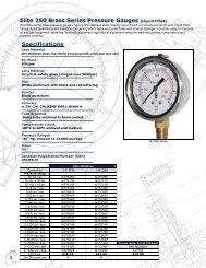 Elite 250 Brass Series Pressure Gauges Specifications