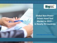Global Non-Power-Driven Hand Tool Market to 2019 in Nearly 70 Countries