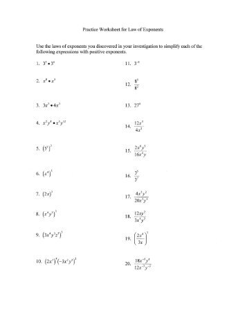 Laws Of Exponents Worksheets Free Worksheets Library | Download ...