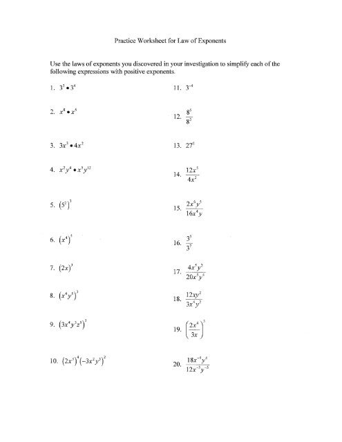 Practice Worksheet For Law Of Exponents Use The Laws Of - Wveis