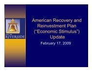 American Recovery and Reinvestment Plan - Home - City of Riverside