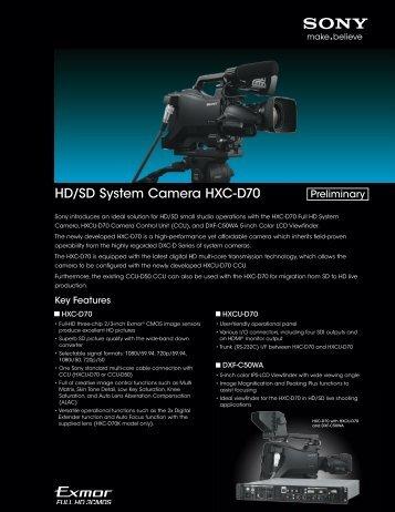 HD/SD System Camera HXC-D70 - Sony