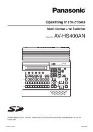 Panasonic AV-HS400A HD-SDI user manual - Talamas