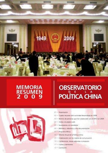 Memoria de actividades OPCh 2009 - Observatorio de la política ...
