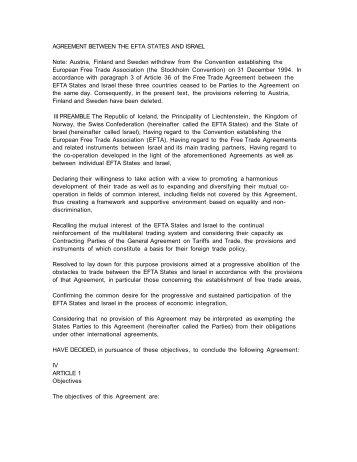 Free Trade Agreement Between The Efta States And Hong Kong China